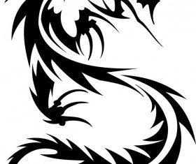 Dragon tatoo illustration vector 02