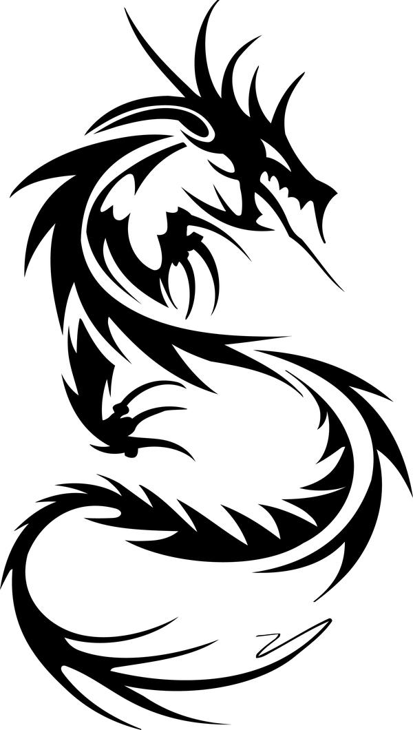 Dragon tatoo illustration vector 02