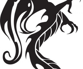 Dragon tatoo illustration vector 03