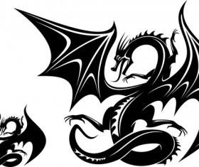Dragon tatoo illustration vector 04