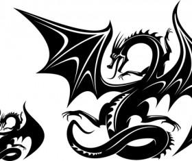 Dragon tatoo illustration vector 04