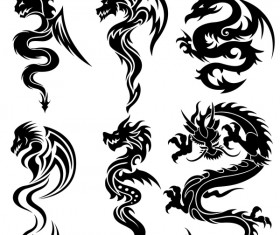Dragon tatoo illustration vector 05