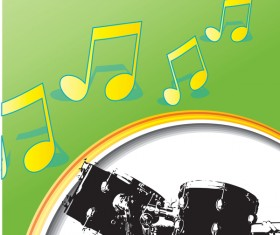Drums with music vector material