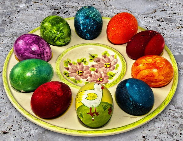 Easter hand painted colorful eggs Stock Photo