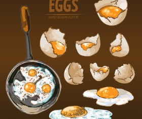 Egg cooking hand drawing vectors material 02