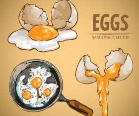 Egg cooking hand drawing vectors material 03