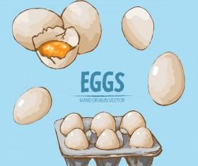 Egg hand drawing vectors set 01