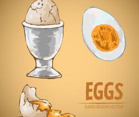 Egg hand drawing vectors set 02