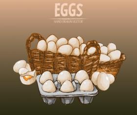 Egg hand drawing vectors set 03