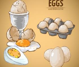 Egg hand drawing vectors set 04