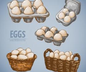 Egg hand drawing vectors set 06