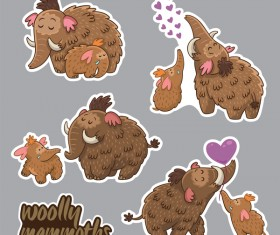 Elephant cute sticker vector