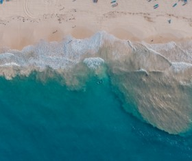 Empty wavy beach from high view Stock Photo
