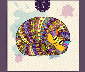 Ethnic decorative pattern with cat vector 01
