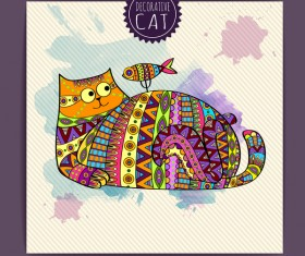 Ethnic decorative pattern with cat vector 02