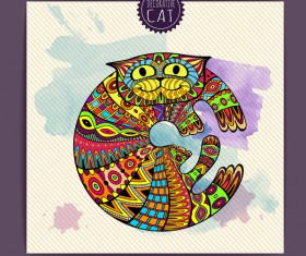 Ethnic decorative pattern with cat vector 03