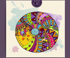 Ethnic decorative pattern with cat vector 04