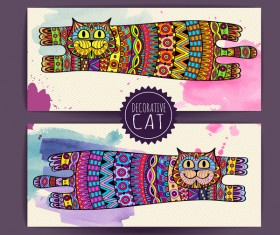Ethnic decorative pattern with cat vector 05