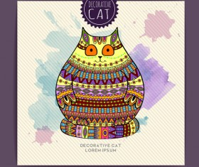 Ethnic decorative pattern with cat vector 06