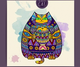 Ethnic decorative pattern with cat vector 08