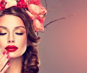 Fashion make-up woman wearing garland Stock Photo 02