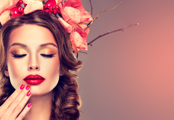 Fashion make up woman wearing garland Stock Photo 02