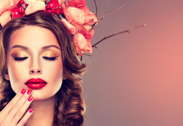 Fashion make up woman wearing garland Stock Photo 02