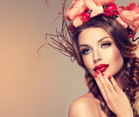Fashion make-up woman wearing garland Stock Photo 03