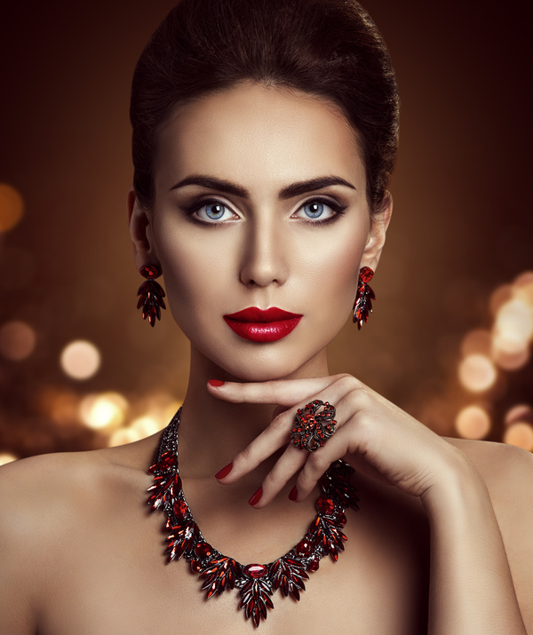 41b6a52c608 Fashion makeup woman wears jewelry Stock Photo 04 free download