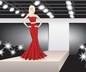 Fashion model with stage vector