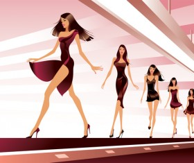 Fashion show with girl vector 02