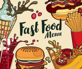 Fastfood menu cover template retro vector
