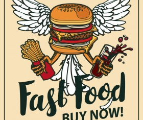 Fastfood vintage poster vector material 02