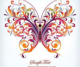Floral butterfly design vector 01