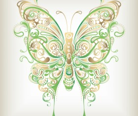 Floral butterfly design vector 02