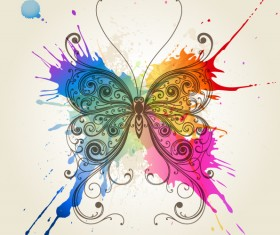 Floral butterfly with grunge background vector