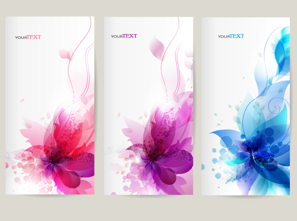 Floral decor abstract banners vector 01