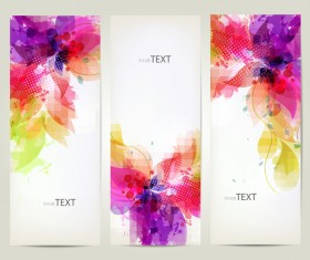 Floral decor abstract banners vector 02