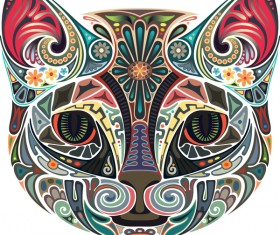 Floral with cat head vector