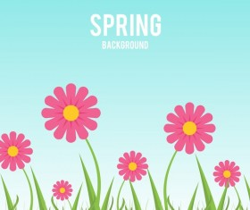 Flower with blue spring background vector