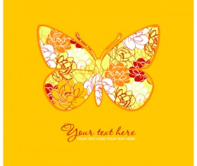 Flower with butterfly and yellow background vector