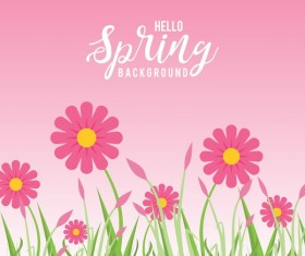 Flower with pink spring background vector