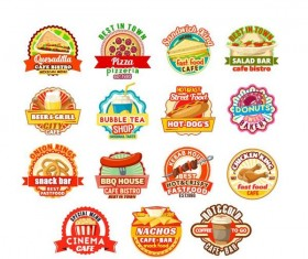 Food badge labels vintage vector