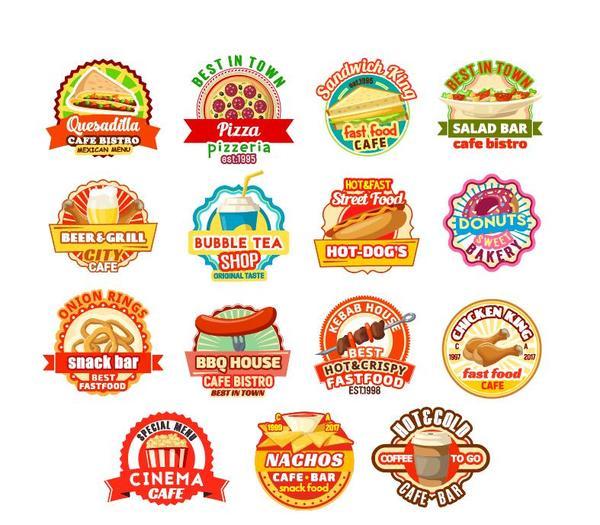 Food badge labels vintage vector