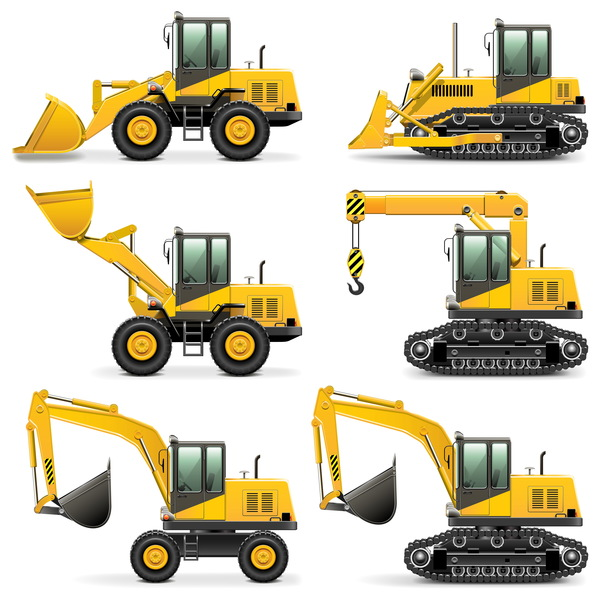 Forklifts and cranes illustration vector