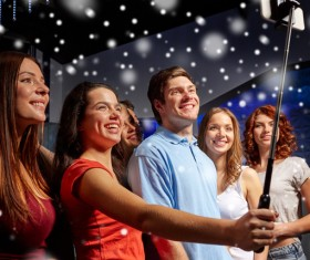 Friends party using smartphone selfie Stock Photo 01