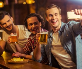 Friends party using smartphone selfie Stock Photo 02