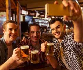 Friends party using smartphone selfie Stock Photo 03