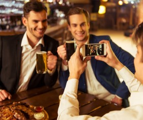 Friends party using smartphone selfie Stock Photo 04