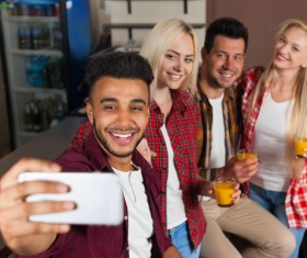 Friends party using smartphone selfie Stock Photo 06